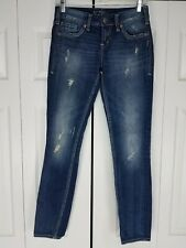 Silver Jeans Aiko Skinny Blue Denim Pants Distressed Ripped Size W25 x L31