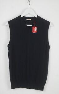 RRP €115 ALTEA Men's MEDIUM V-neck Dark Blue Knit Tank Top Vest 5747_mm