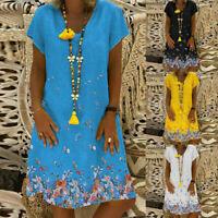 Women's Print Causal Short Sleeve Mini Dress V-neck Summer Straight Loose Dress
