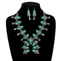 SQUASH BLOSSOM necklace set in silver tone and turquoise    18 inch adj.