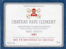 GRAVES 1E GCC VIEILLE ETIQUETTE CHATEAU PAPE CLEMENT 1987 73 CL  RARE §15/06/18§