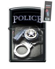 Zippo 4015 Police Gun Badge Handcuffs Black Matte Finish Lighter + FLINT PACK