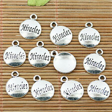 30pcs tibetan silver plated round Miracles pendant charms EF1747