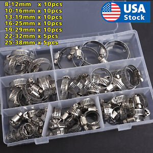 60 Pieces Adjustable Hose Clamps Worm Gear Stainless Steel Clamp Assortment