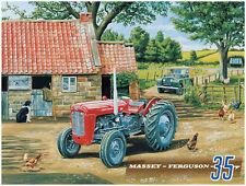 Klassische Traktor,Massey Ferguson 35 & Land Rover auf Bauernhof,