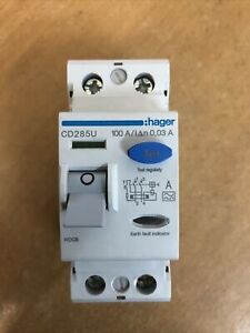 HAGER 100 AMP 30mA DOUBLE POLE RCCB TYPE A CD285U 161503 100A Main Switch RCD