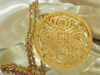 Roget Signed Vintage 70's Cool Eternity Gold Tone Medallion Necklace 73o9