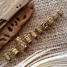 10 x Brass Gold Tone Beard Beads Viking Celtic Dread Rings 4-7mm Hole *NEW** UK