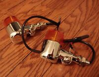 (2) Retro Motorcycle Chrome Polished Aluminum Amber Lens M10 Thread - USA Seller