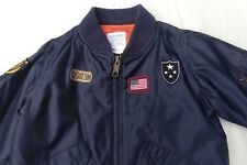 Boys OLD NAVY TODDLER Size 3T Navy Blue Bomber Full zip Jacket Lined Super Cute!