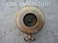 Vintage Brass Antique Nautical Handmade Pocket Push Button Compass Ship Instrume