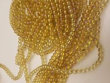 Electroplate Glass Beads, Full Rainbow Plated, Round, Yellow 6mm, Hole: 1mm