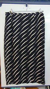 Ladies Size 18 Ann Harvey Black/Beige Striped Elastic Waist Lined Skirt