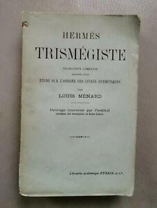 Hermès Trismégiste par Louis Ménard Librairie académique Perrin et Cie 1910