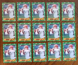 1986 TOPPS BERNIE KOSAR ROOKIE RC #187 - LOT OF 15 - NM-MINT CONDITION