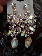"BIG huge 3 "" long ab RHINESTONE CRYSTAL EARRINGS chandelier SPARKLY glam wedding"