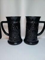 Pair(2) of  Vintage Indiana Glass Tiara Exclusive Black Amethyst Mugs Tavern