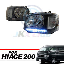 LED Black Front Headlight Lamp Clear Len Fit For Toyota Hiace Commuter 2011-14
