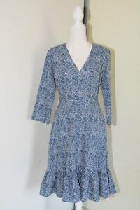 Forcast Blue Leaf Print Dress Size 8 Corporate Casual