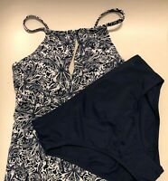NWT Ellen Tracy Tankini & Bottom Set Navy/White Size 10