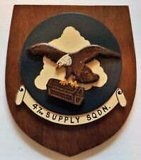 Vintage US Air Force 47th Supply Squadron Wood Wall Plaque