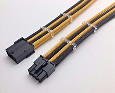 8 Pin ATX CPU Black Gold Sleeved Extension Cable 30cm Shakmods 2 Cable Combs
