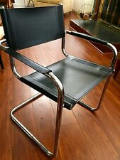 Matteo Grassi CHROME BAUHAUS CANTILEVER CHAIR Mid Century Italian Leather