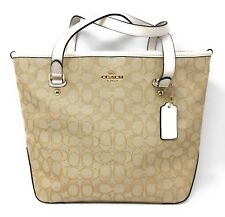 Coach Outline Signature Zip Top Tote Light Khaki & Chalk - Style F58282