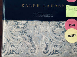Ralph Lauren Home Mariella Paisley KING Duvet Cover Grey Cotton  $430 NWT