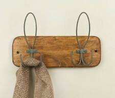 Vintage Rustic Forge and Forest Wood Wall Mount Metal Hook Hanger Holder
