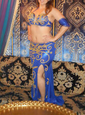 Elegant Gold-Accented Royal Blue Authentic Egyptian Belly Dance Costume Bedlah