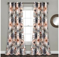 Lush Decor Leah Floral Darkening Coral and Gray Window Panel Curtain Set for 84""