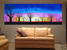 Australian Landscape oil Painting Aboriginal  Boab Tree Sunrise Sunset By Jane