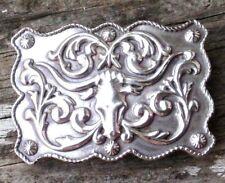 Vintage (1994) Silver Tone Texas Longhorn Steer Bull Ornate Western Belt Buckle