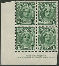 KGVI PERIOD: 1949 (SG.229) ½d Green, Authority Imprint blk.(4) with re-entries