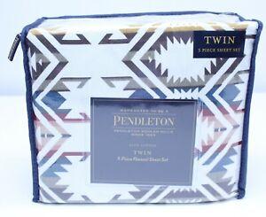 NEW Pendleton Twin Flannel Sheet Set 3 Piece Cotton Washable White S Multi Aztec