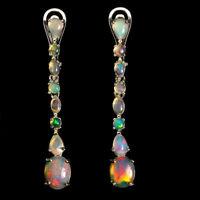 Unheated Oval Fire Opal Hot Rainbow Luster 9x7mm 925 Sterling Silver Earrings
