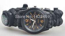 Paracord 550 Black GENEVA Watch Survival Bracelet W/ FIRE STARTER & WHISTLE