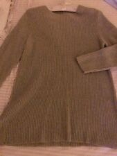 J.Jill Crew Neck Pullover Cotton Blend Ribbed Knit A-lineTunic Sweater M FLAX