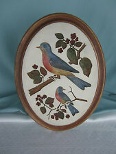 Vintage Plaster or Chalkware Placque of Blue Birds Indented Relief Small Large