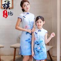Mother Daughter Matching Cheongsam Dress Summer Women Dress Girl Clothes Outfit