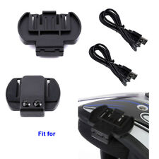 2Pcs Bracket Clip+ USB Charging Cable For Motorcycle Blue Tooth Intercom Headset