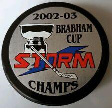 2002-2003 BRABHAM CUP CHAMPS TOLEDO STORM HOCKEY LINDSAY MFG. PUCK - CANADA GEM!