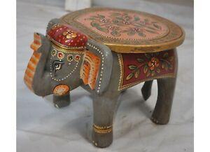 Fein Handgeschnitzt Und Bemalt Hartholz Elefant Form Beistelltisch Stuhl
