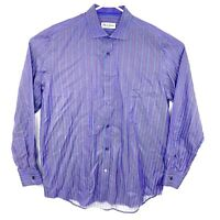 Robert Graham Men's Size 43/17 Button Up Long Sleeve Purple Striped Shirt - EUC