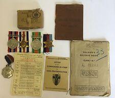 WW2 Medal Group Pay Book Release Book Etc., War Sergeant Edward G Fricker