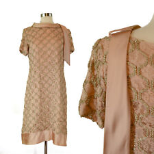 Vintage 70s Illusion Lace Embroiderd Shift Dress Formal Mother of the Bride M L