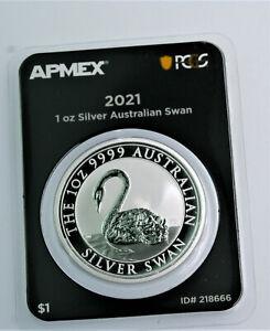 2021 .999 silver 1 oz Australian SWAN  BU FIRST STRIKE  coin in PCGS TEP