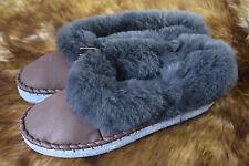 Size 6 - 12 Mens Womens Unisex Real Leather Sheepskin Wool Slipper Moccasins