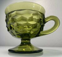 Green Indiana Glass Ice Cream Cup with Handle/Footed Whitehall Colony Cubist
